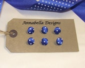 Hand made french blue spotted polka dot buttons