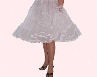 Stiff net 2 layer white Rock 'N' Roll petticoat