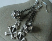 RESERVED  FOR COMATOZED Skull Sparkly Pirate earrings FREE SHIPPING