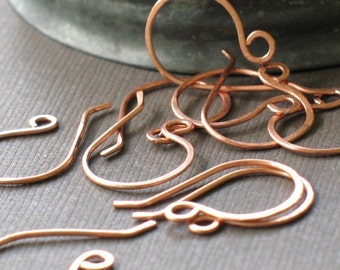 handmade copper earwires- forged copper ear hooks