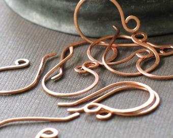 handmade copper ear wires- forged copper hooks, handmade ear wires,  raw copper ear wires, earring findings, jewelry making, earring hooks