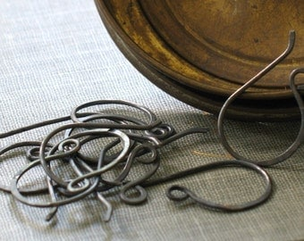 handmade oxidized copper earwires- forged hook ear wires