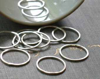 5/8 inch sterling silver circles- forged silver connector rings
