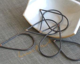 large oxidized copper teardrop links- teardrop connectors