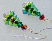 Green Crystal Christmas Tree Earrings by amaliarita