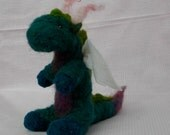 Shaefira the friendly blue green and purple dragon needle felted Waldorf style soft toy
