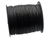 Black color Woven Waxed Cotton cord 2mm - 25 feet/7.62 meters.