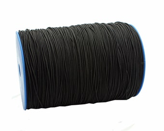 Elastic Cord: Black Solid Elastic Cord, approx. 2mm x 25ft / DIY Cord, Stretch Cord, Fabric Elastic, Beading / Craft and Jewelry Supplies