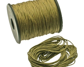 Golden Olive: Braided Cotton Cord 1mm, 25ft (8.33 yards), Braided Thread / DIY Cording, Twine, Jewelry Making Supply, Craft Supplies