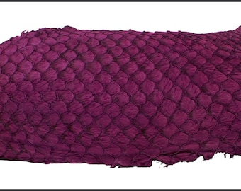 Fuchsia color, Eco-Friendly Soft Suede Exotic Tilapia Fish Skin Leather. Chrome FREE tanning. Natural Fish Leather.