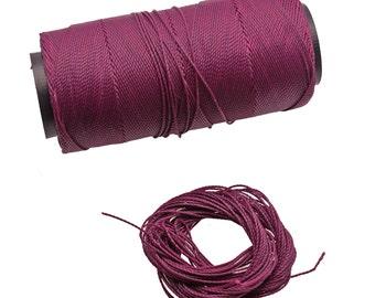 Eggplant Purple: Waxed Polyester Cord, ~1mm Macrame Cord, pack of 25ft (8.33 yards) / Hilo Encerado, Linha Encerada, Waxed Polyester Thread