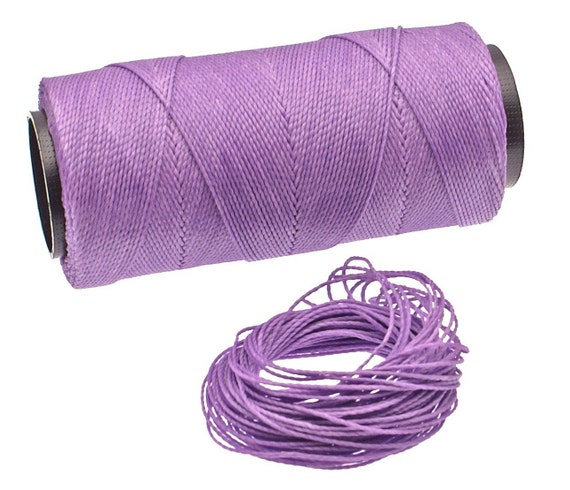 Lovely Lilac: Waxed Polyester Cord, ~1mm Macrame Cord, pack of 25ft (8.33 yards) / Hilo Encerado, Linha Encerada, Waxed Polyester Thread