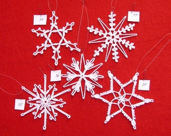 PDF Patterns for 5 Crocheted Snowflakes - set 8