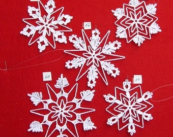 PDF Patterns for 5 Crocheted Snowflakes - set 12