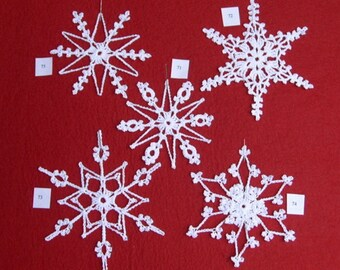 PDF Patterns for 5 Crocheted Snowflakes - set 15