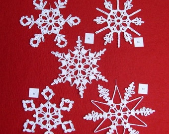 PDF Patterns for 5 Crocheted Snowflakes - set 17