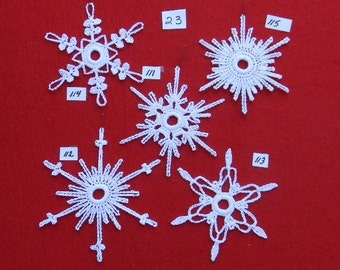 PDF Patterns for 5 Crocheted Snowflakes - set 23