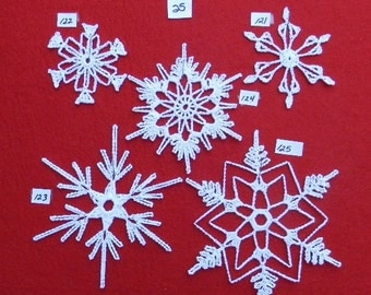 PDF Pattern for 5 Crocheted Snowflakes - set 25