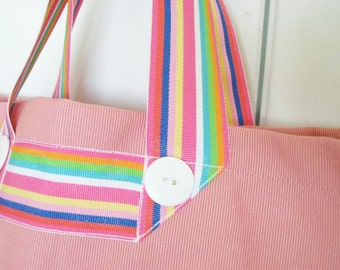 SALE - After the Rain market tote with rainbow handles