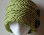 Pamela Flapper Hat - All Buttoned Up in crocheted cotton