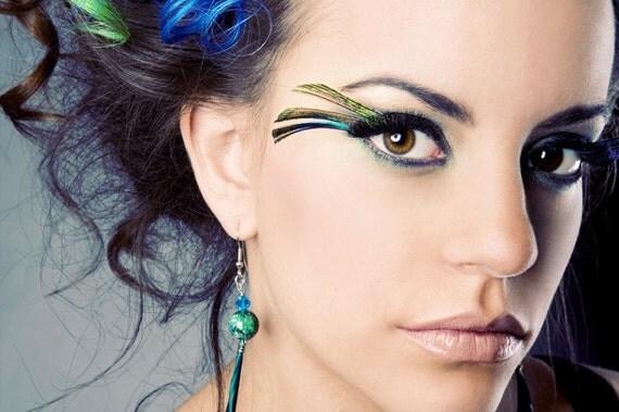 Handmade Feather Eyelashes - Punky Peacock