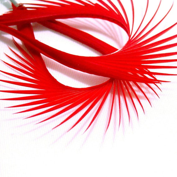 Spiked Elegance - Electric Orange Feather Earrings, Ready to Ship