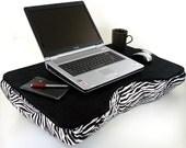Jumbo Black Canvas Cotton and Zebra Laptop Lap Desk