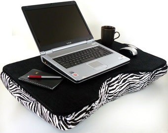 Jumbo Black Canvas Cotton and Zebra Laptop Lap Desk for S.Pederson