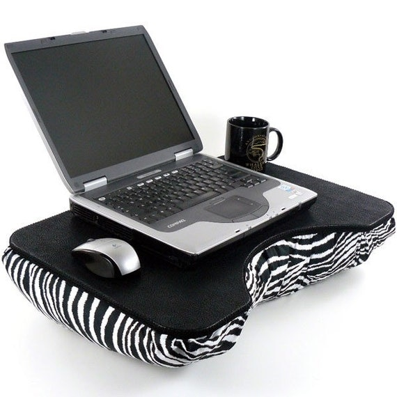 Large Black Faux Leather and Zebra Lap Desk