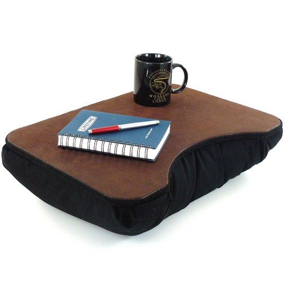 Medium Brown Faux Leather Portable Lap Desk with Black Bottom