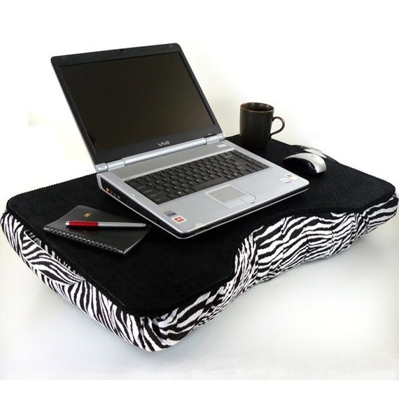 Jumbo Black Canvas Cotton and Zebra Laptop Lap Desk