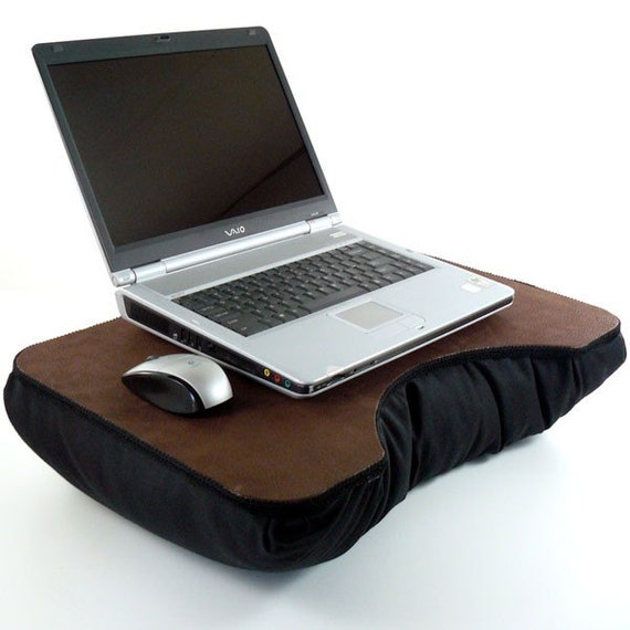 Brown Faux Leather Laptop Lap Desk with black pillow