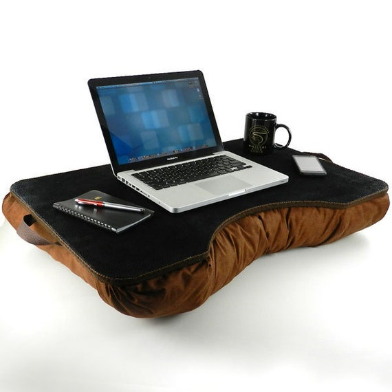 Jumbo Black and Brown Faux Leather Lap Desk