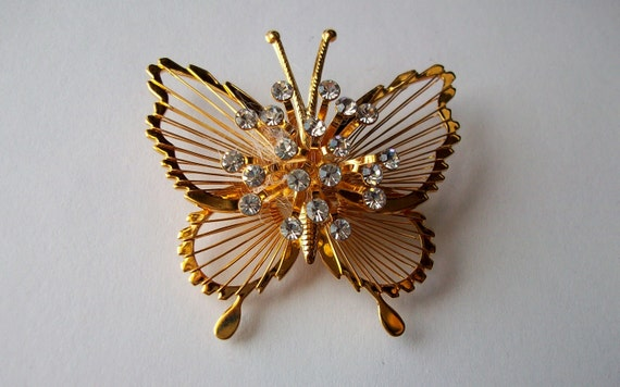 Vintage Monet Signed Goldtone Rhinestone Butterfly Brooch Pin