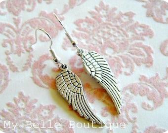 Pair of Antique Silver Angel Wing Earrings