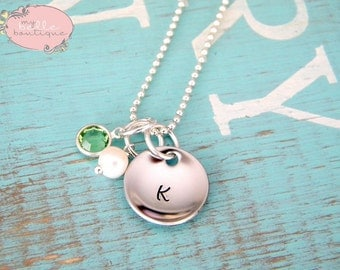Personalized Domed Disc Necklace with Freshwater Pearl Charm and Birthstone