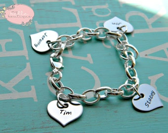 Personalized Hand Stamped Bracelet with Heart Shaped Name Disc Charms Tags