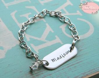 Personalized Hand Stamped Bracelet with Clear Swarovski Birthstone