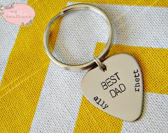 Personalized Hand Stamped Key Chain for DAD or GRANDPA