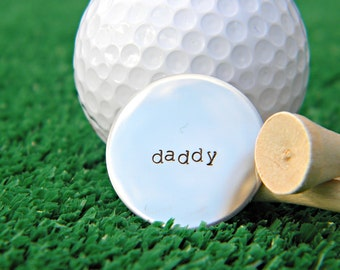 Personalized Hand Stamped Silver Tone Golf Ball Marker - Husband Brother Dad
