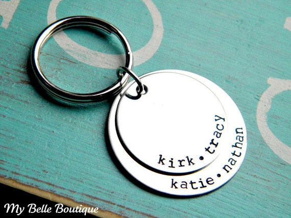 Personalized Hand Stamped Double Round Disc Keychain