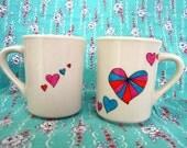 Set of 2 Pinwheel Heart Mugs