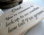 "Father's Day mini wood notepad (3"" x 2"") - Look Up To Dad"