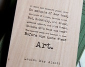 Wood Sketchbook / Notebook - Art quote