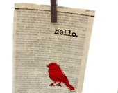 "Screenprint / Linocut print - 5"" x 7"" Hello Bird Fabric Print - Red"
