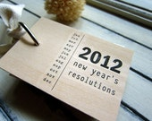 """2012 New Years Resolutions notepad - wood mini notepad (3"""" x 2"""")"""
