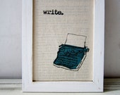 "Screen print / Linocut print - 5"" x 7"" Write Typewriter Fabric Print - Teal Blue"