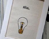 "Linocut print / Screenprint - 5"" x 7"" aha light bulb fabric print - Yellow"