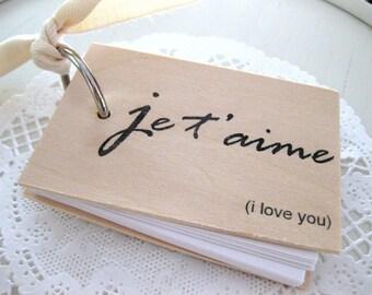"Je t'aime Notepad - Mini wood notebook (3"" x 2"") - je t'aime - i love you"