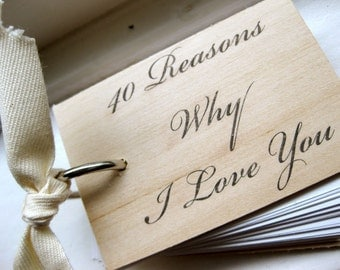"I Love You wood notepad / notebook - 40 reasons why I love you - Mini notepad (3"" x 2"")"